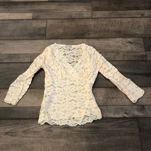 Lace off white blouse